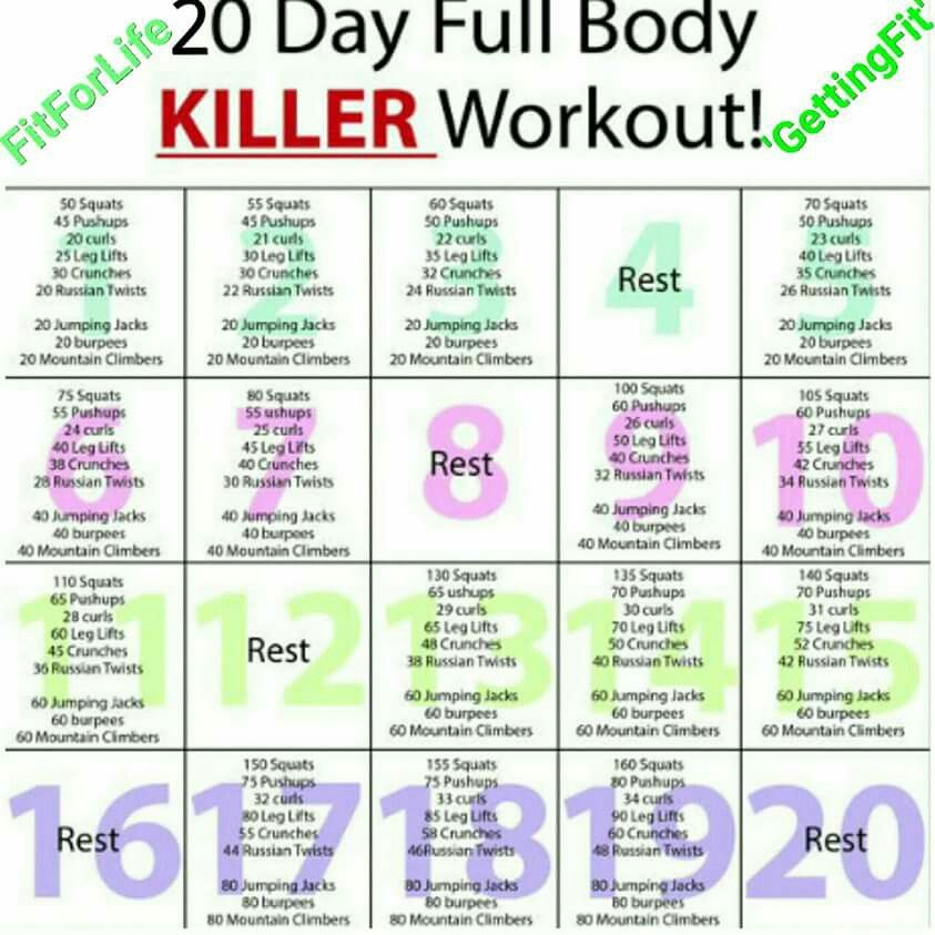 30 day full body killer workout pdf
