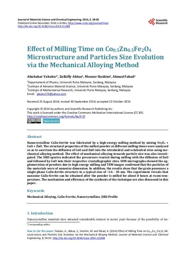 mechanical alloying and milling pdf
