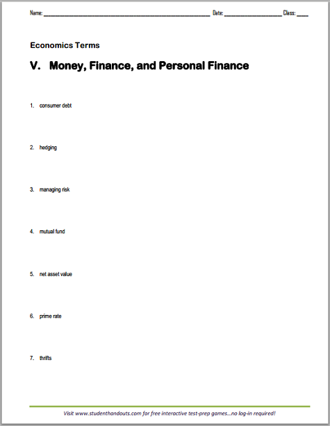 money and finance worksheets pdf