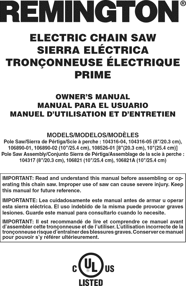 rockwell electric chainsaw manual pdf